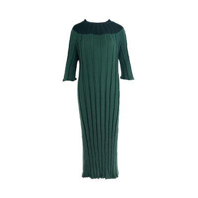 two tone knit dress green